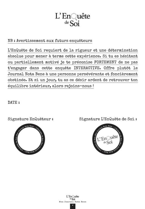 EnQuête de soi Journal Nota Bene -information aux futurs enquêteurs
